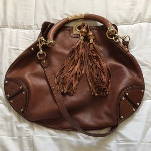 Gucci Brown Leather Crossbody with gold accents